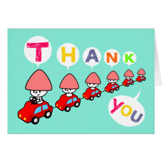 Thank You Card - Car with small cars