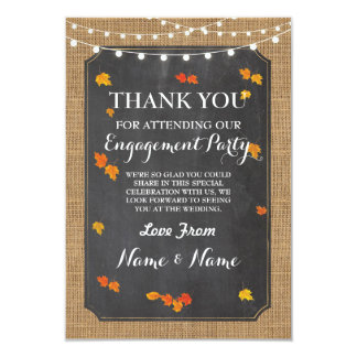 Thank You Card Card Engagement Wedding Fall Leaves