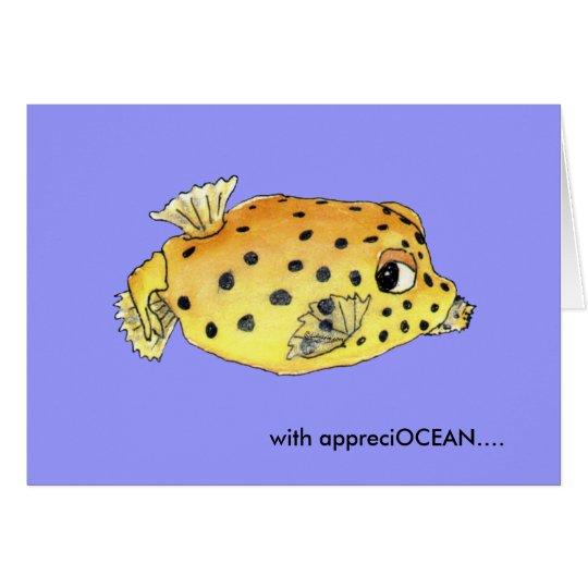 Thank You Card Cartoon Box Fish Greeting