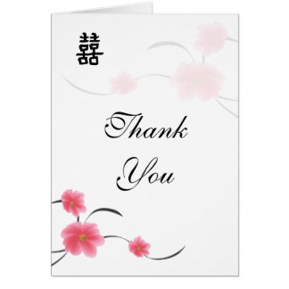 Thank You Card Cherry Blossom Double Happiness