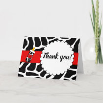 Thank you card cowhide baby shower red black