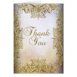 Thank You Card Elegant Beige White Gold