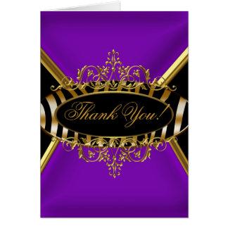 Thank You Card Elegant Purple Zebra Black Gold