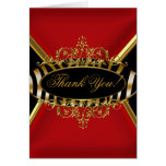 Thank You Card Elegant Red Zebra Black Gold