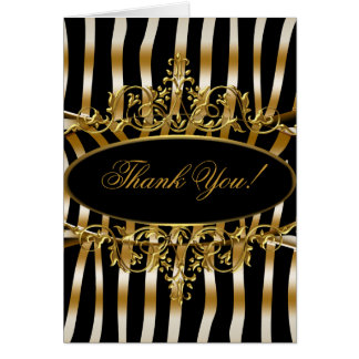 Thank You Card Elegant Zebra Black Gold