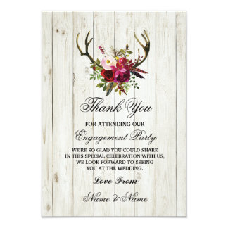 Thank You Card Engagement Wedding Antlers Floral