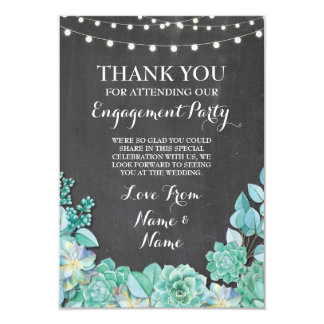 Thank You Card Engagement Wedding Succulent Chalk
