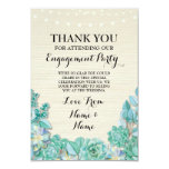 Thank You Card Engagement Wedding Succulent Floral