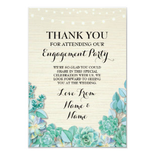 thank you card engagement wedding succulent floral - Engagement Thank You Cards