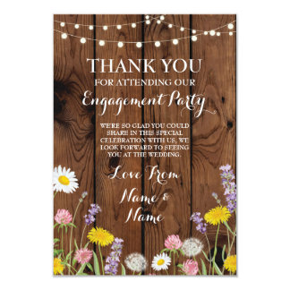 Thank You Card Engagement Wedding Wild Wood Floral
