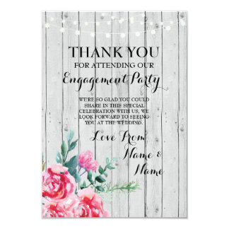 Thank You Card Engagement Wedding Wood Red Floral