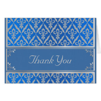 Thank You Card--Fleur de Lis -Light Blue & Silver Card