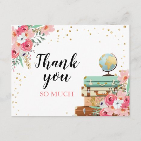 Thank you card Flowers Miss to Mrs Travel Pink