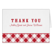 Thank You Card Folded | Red Gingham BBQ at Zazzle