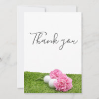 Thank you card for golfer with golf ball