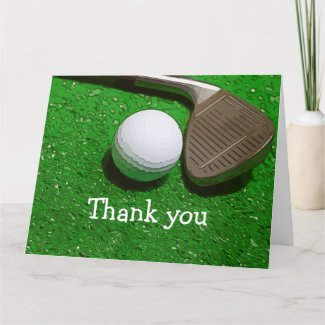 Thank you card for golfer with golf ball and iron