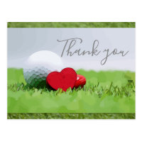 Thank you card for golfer with golf ball & love