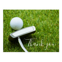 Thank you card for golfer with golf ball & Putter