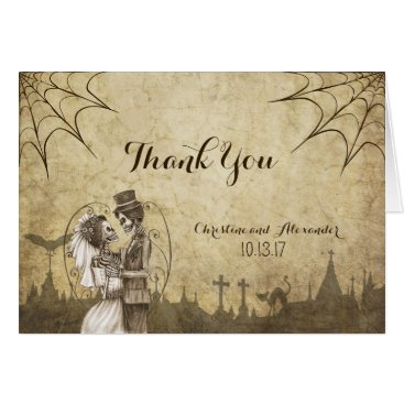 Halloween Themed Thank You card for Halloween wedding with skeleton