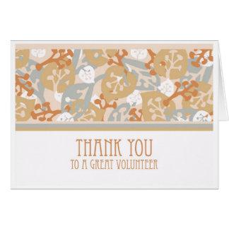 Thank You Card for Volunteer, Leaves Art Design