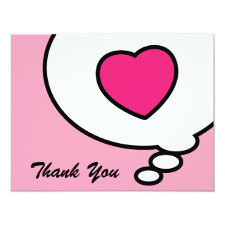 """Thank You card  from my heart  - pink 4.25"""" X 5.5"""" Invitation Card"""