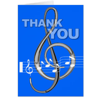 Thank You Card G Clef Music Note Blue