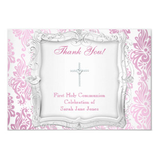Thank You Card Girl First Holy Communion Cross