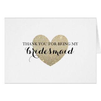Thank You Card - Glitter Bridal Heart Fab
