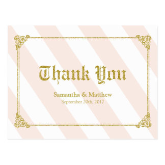 Thank You card Gold Glitter Look