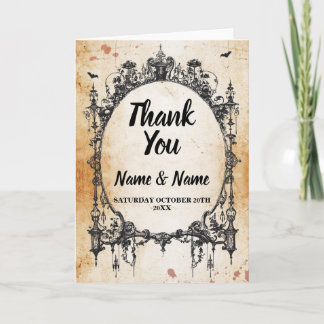 Thank You Card Gothic Wedding Halloween Rustic