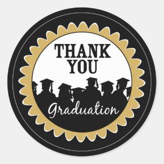 Thank-You Card Graduation Seal {black} Classic Round Sticker