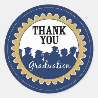 Thank-You Card Graduation Seal {blue} Classic Round Sticker
