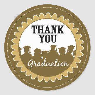 Thank-You Card Graduation Seal {gold} Classic Round Sticker