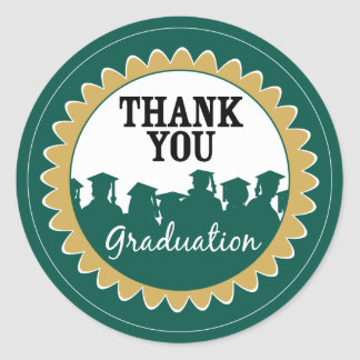 Thank-You Card Graduation Seal {green} Classic Round Sticker