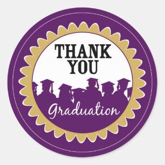 Thank-You Card Graduation Seal {purple} Classic Round Sticker