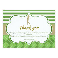Thank you card green gold golf personalized