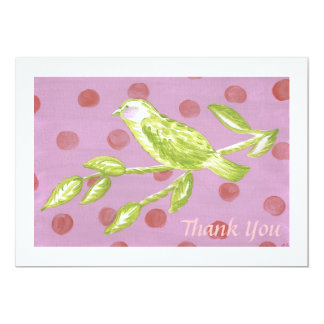 Thank You Card - Green Toile Bird on Pink with Red