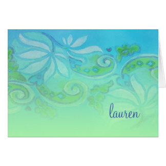 Thank You Card Green Turquoise Floral Watercolor