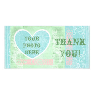 Thank You Card, Heart Photo Insert, Pastel Colors Card