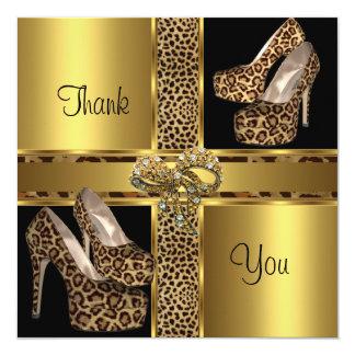 Thank You Card Hi Heel Shoes Leopard Gold 2