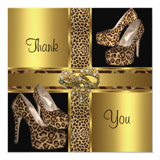 """Thank You Card Hi Heel Shoes Leopard Gold 2 5.25"""" Square Invitation Card"""