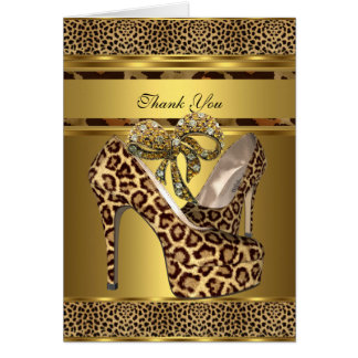 Thank You Card Hi Heel Shoes Leopard Gold Bow