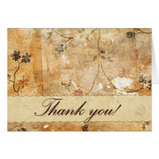 Thank you card in cream and brown