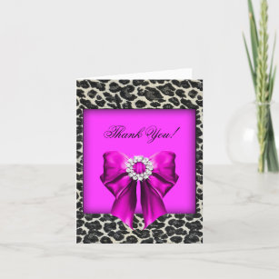 Funky Pink Leopard Print Personalized Party Thank You Cards