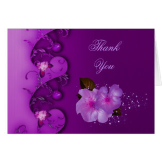 Thank You Card Lilac Purple Flowers