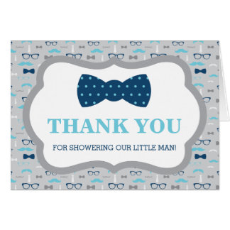 Thank You Card, Little Man, Bow Tie, Baby Blue Card