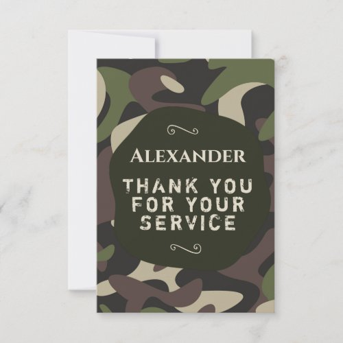 Thank You Card Military Camouflage Green Brown