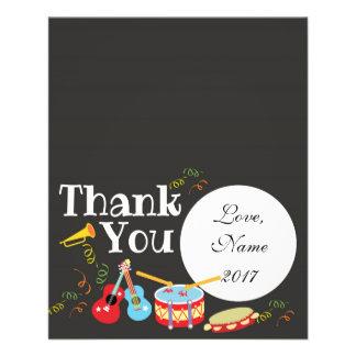 Thank You card - music theme kids birthday