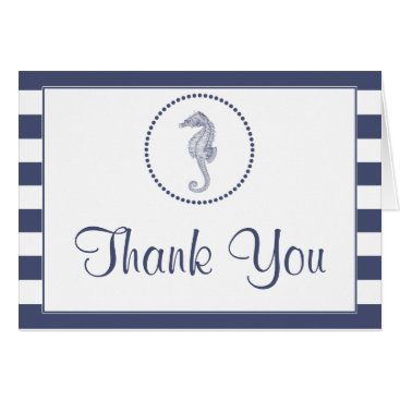 Beach Themed Thank You Card | Nautical Blue Seahorse