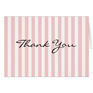 Thank You Card Pink and White Stripe Custom